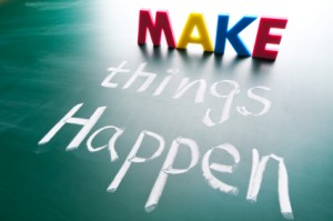 Make things happen, concept words draw on blackboard.